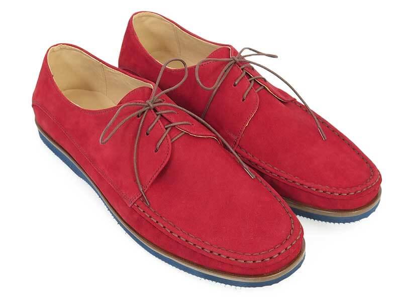 Czerwone wiązane mokasyny męskie T146