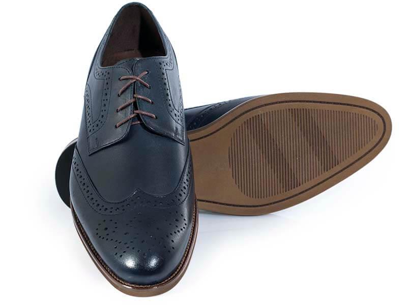 Granatowe męskie buty wizytowe - brogsy T147