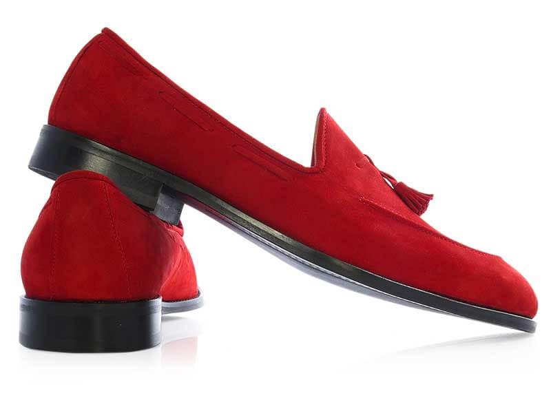 Czerwone wsuwane buty męskie - tassel loafers T149