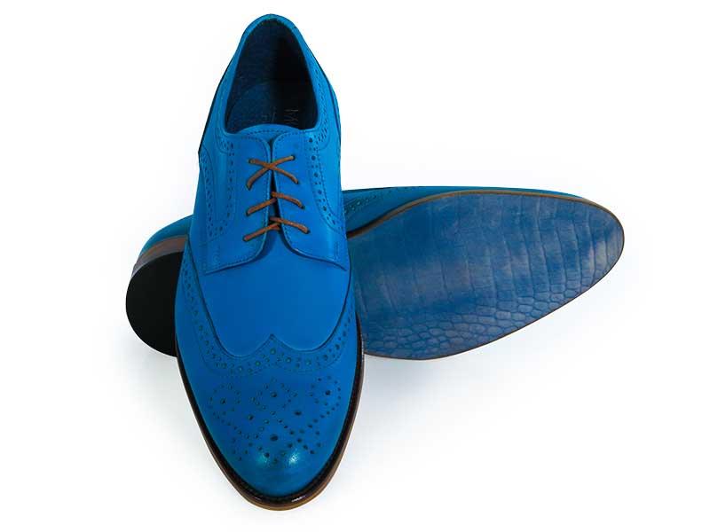 Niebieskie męskie buty wizytowe - brogsy T152