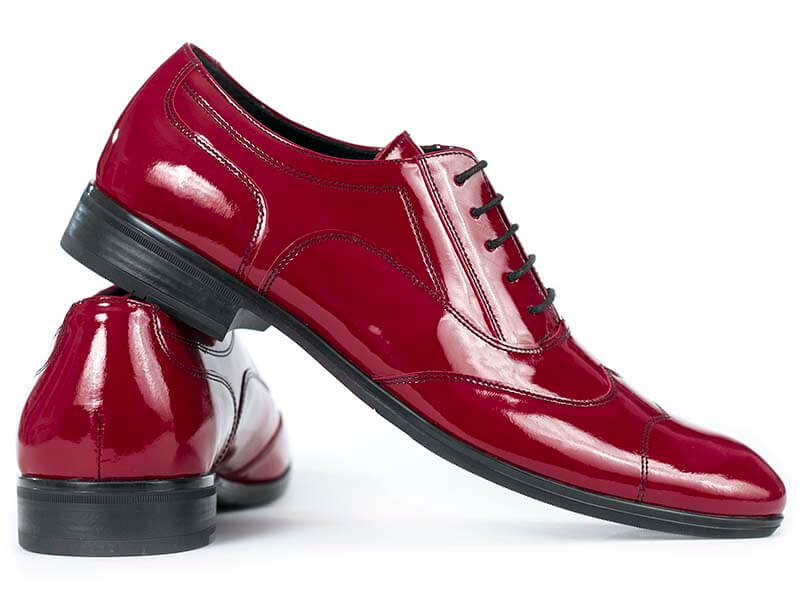 Czerwone lakierkowane obuwie męskie Faber - Austerity T19