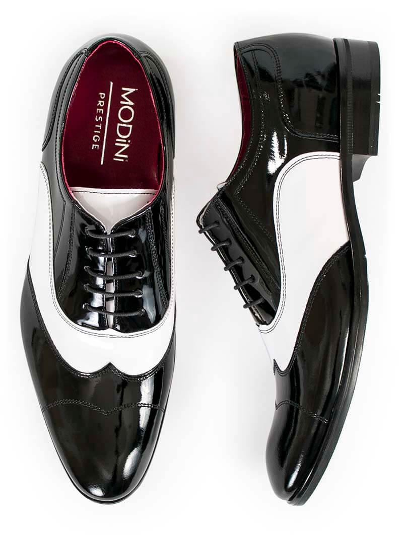 Czarno białe lakierki męskie - spektatory obuwie Al Capone Caponki T25