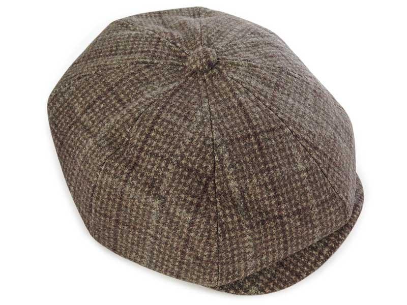 Beżowy kaszkiet/czapka męska w kratę G21