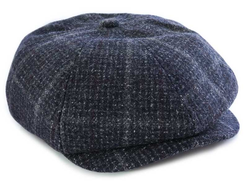 Szary kaszkiet/czapka męska w kratę G22
