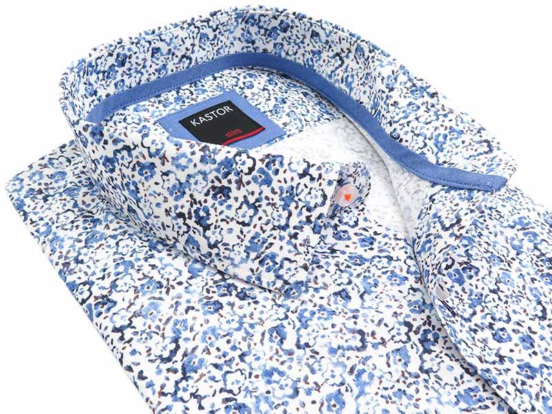 Biała w niebieskie kwiaty koszula z krótkim rękawem Kastor K81