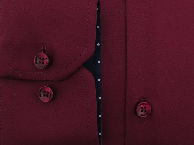 Bordowa koszula męska z granatowymi kontrastami w kropki 010SZ