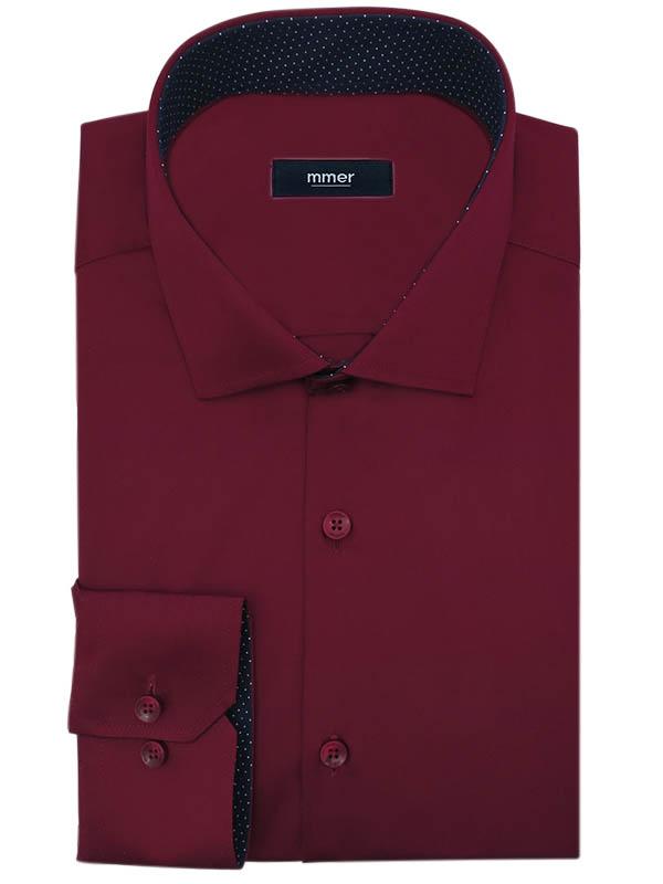 Bordowa koszula męska z granatowymi kontrastami w kropki 010