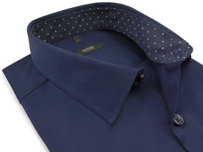 Granatowa koszula męska z kontrastami w kropki 011N