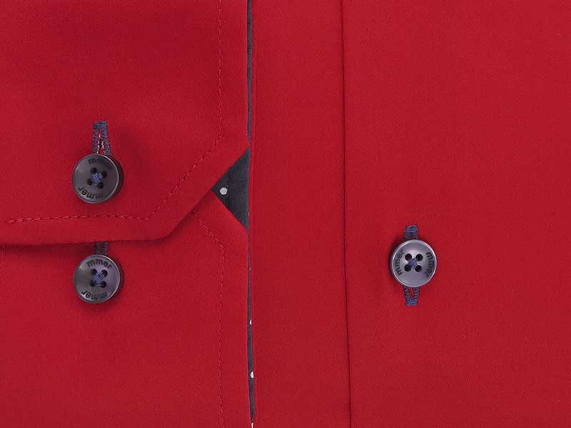 Czerwona koszula męska z granaotwymi kontrastami 404N