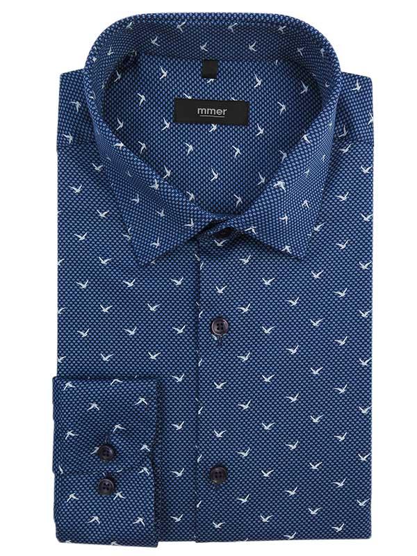 Niebieska koszula w ptaki C021