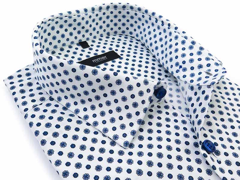 Biała koszula w niebieski geometryczny wzór - kwiatki C052