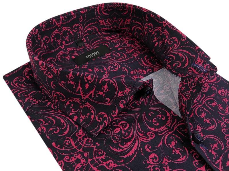 Czarna koszula w różowy wzóri Mmer C115