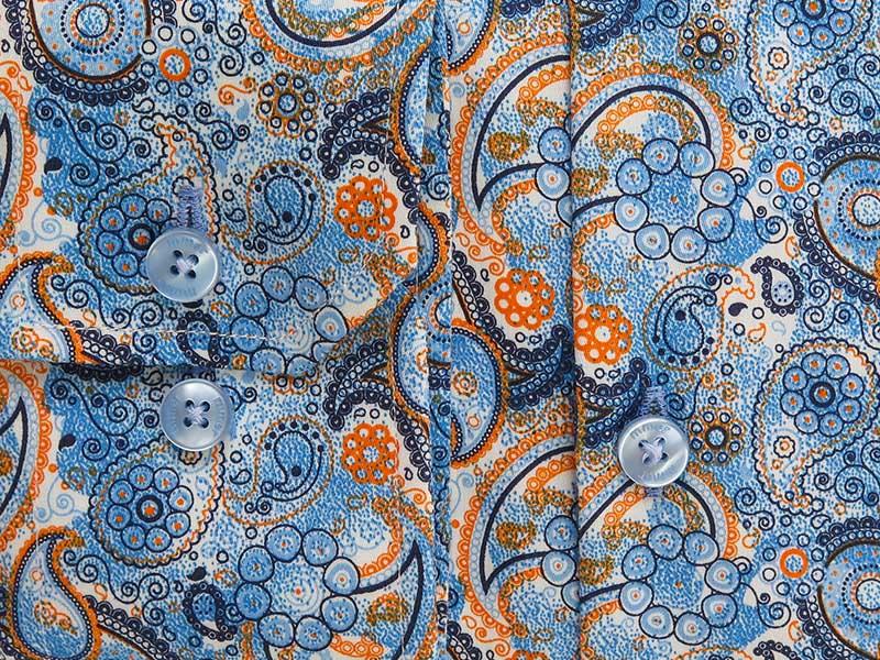 Niebieska koszula w unikatowy wzór - paisley C179