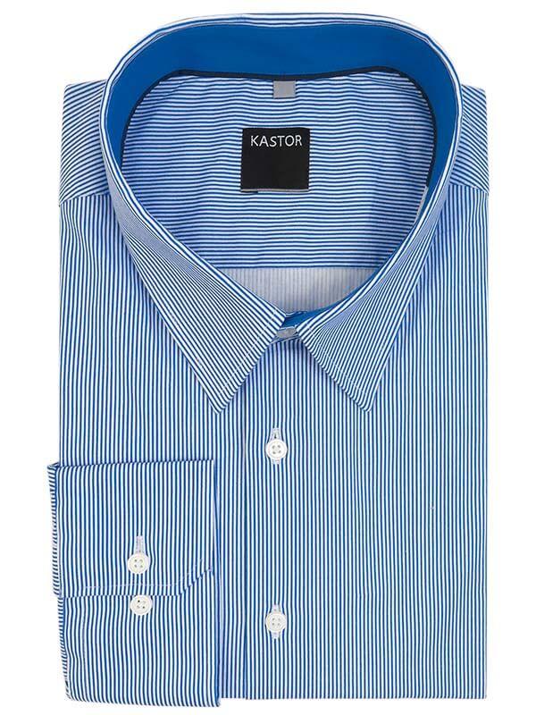 Biała koszula męska w błękitne prążki Kastor K3
