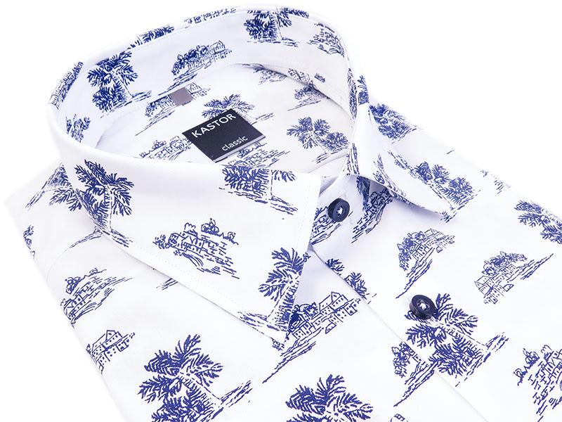 Biała koszula męska w letni wzór.