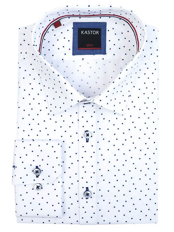 Biała koszula męska Kastor w granatowe gwiazdki K69