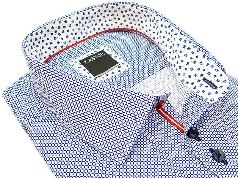 Biała koszula w niebieski wzór z krótkim rękawem K75