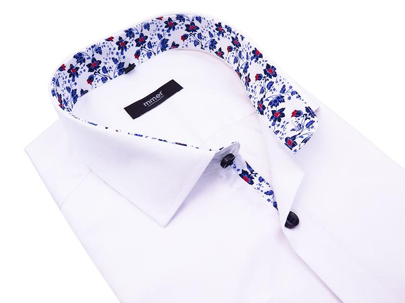 Biała koszula męska z wykończeniami w kwiaty 408