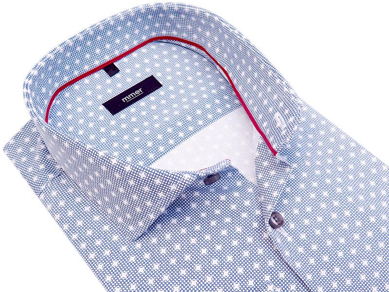 Biała koszula w granatowy drobny wzór 421