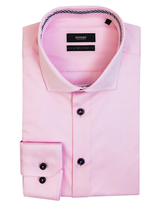 Limitowana różowa koszula w splot w kratkę 442