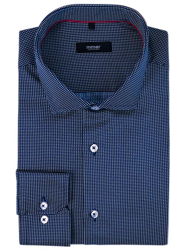 Granatowa koszula z długim rękawem w drobny wzór 458