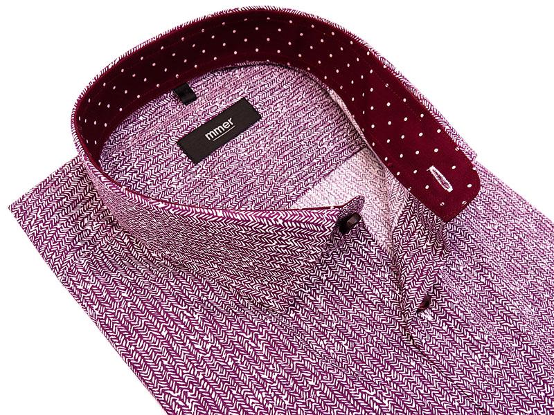 Bordowa koszula z długim rękawem w drobny wzór 498