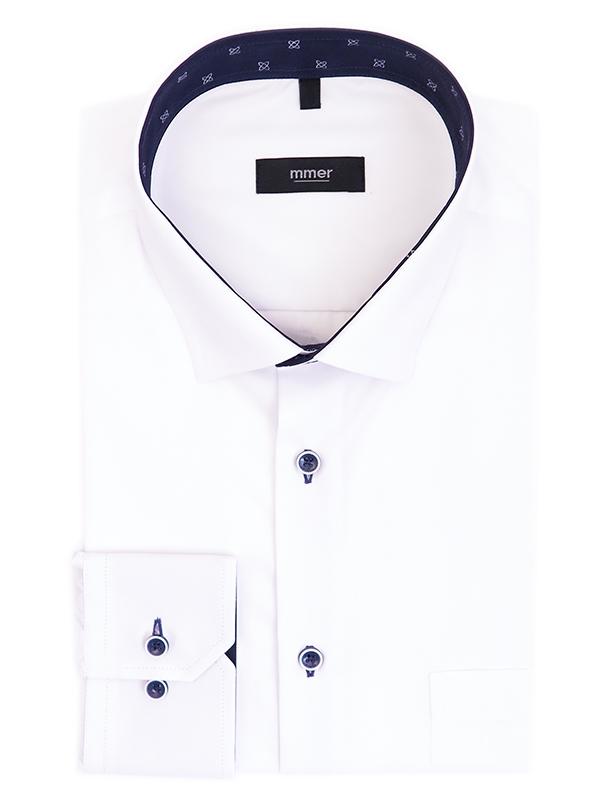 Biała koszula Mmer w granatowymi wykończeniami 540 DRB