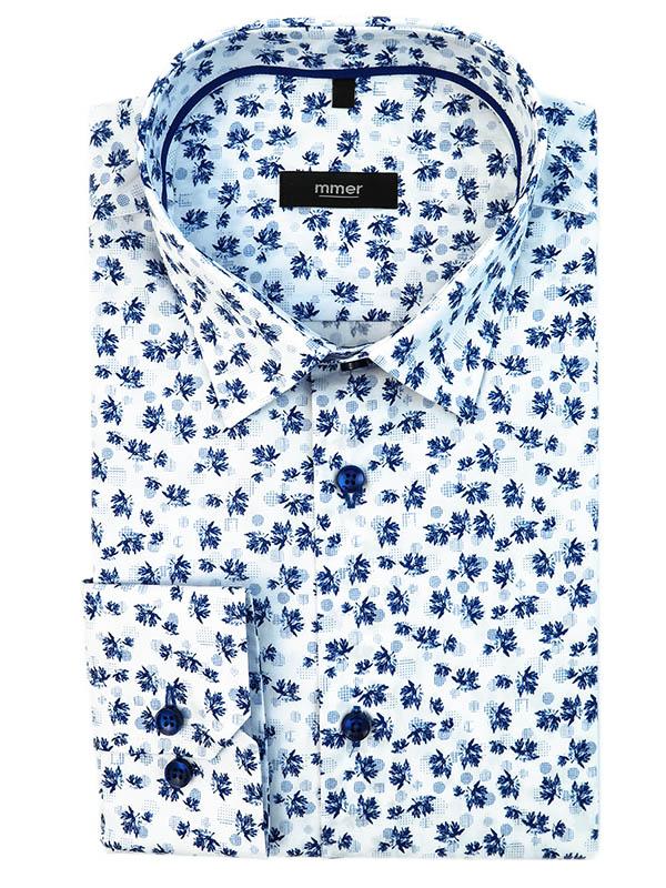 Biała koszula w granatowy wzór - liście 583