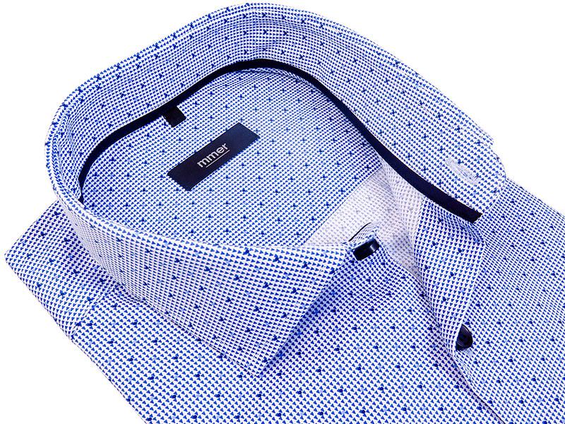 Biała koszula z krótkim rękawem w niebieski wzór 644K
