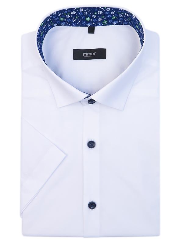 Biała koszula męska z krótkim rękawem i wykończeniami w kwiaty 628K
