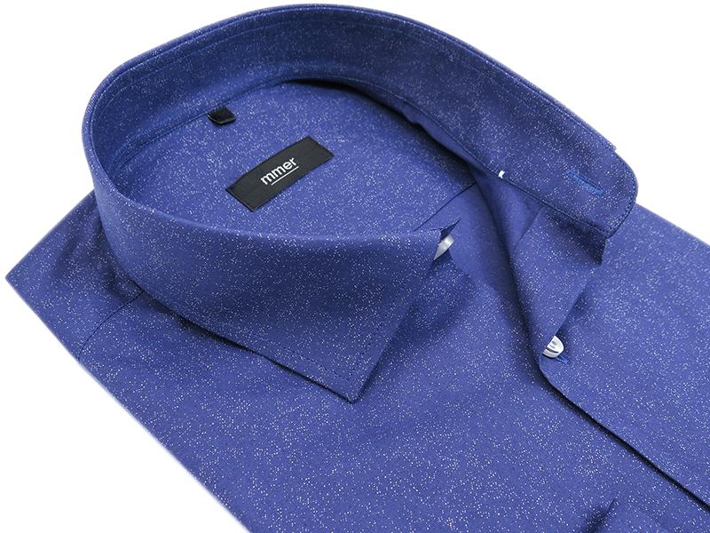 Niebieska koszula w białe drobne plamki 629