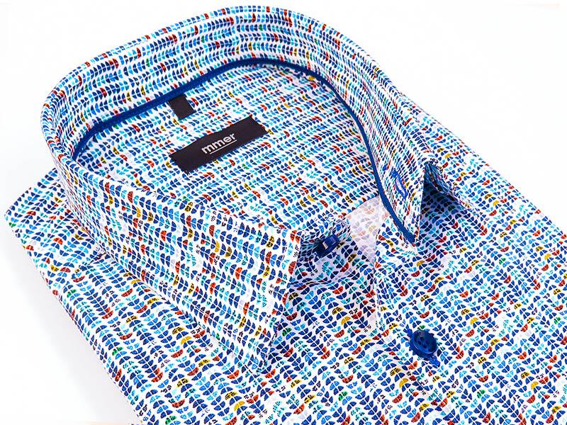 Biała koszula męska z krótkim rękawem w drobny wzór 720