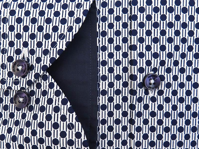 Biała koszula w granatowey wzór - grochy 755