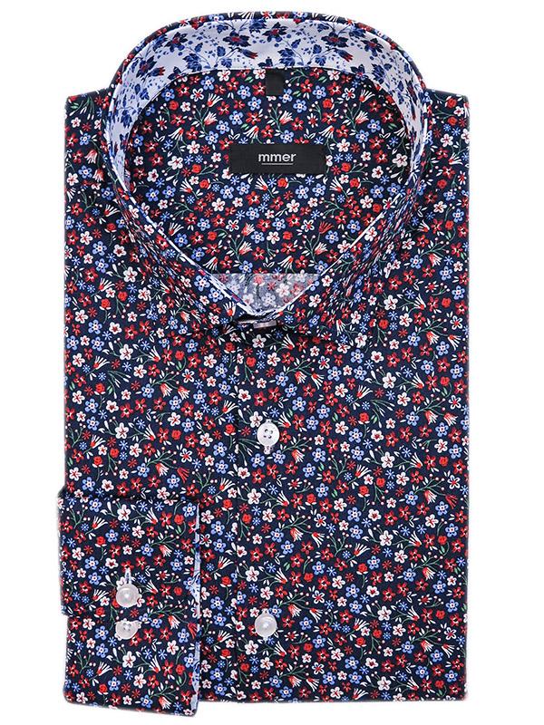 Granatowa koszula męska w kolorowe kwiatki 761