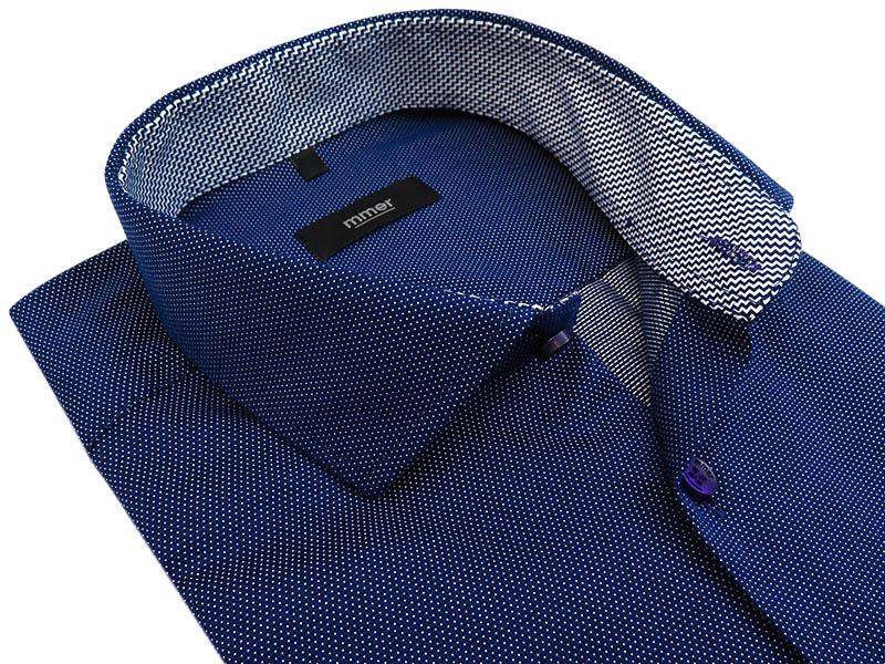 Granatowa koszula z długim rękawem w drobny wzór 813