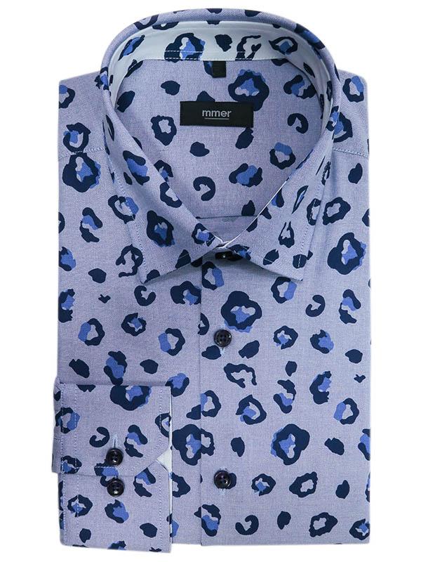 Niebieska koszula męska w granatowo-niebieskie plamy, cętki 829