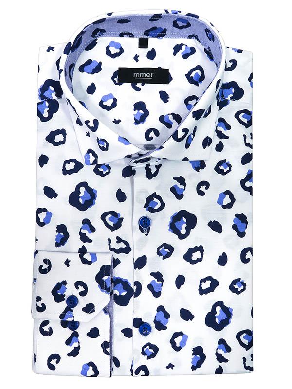 Koszula męska w granatowo-niebieskie plamy, cętki 380
