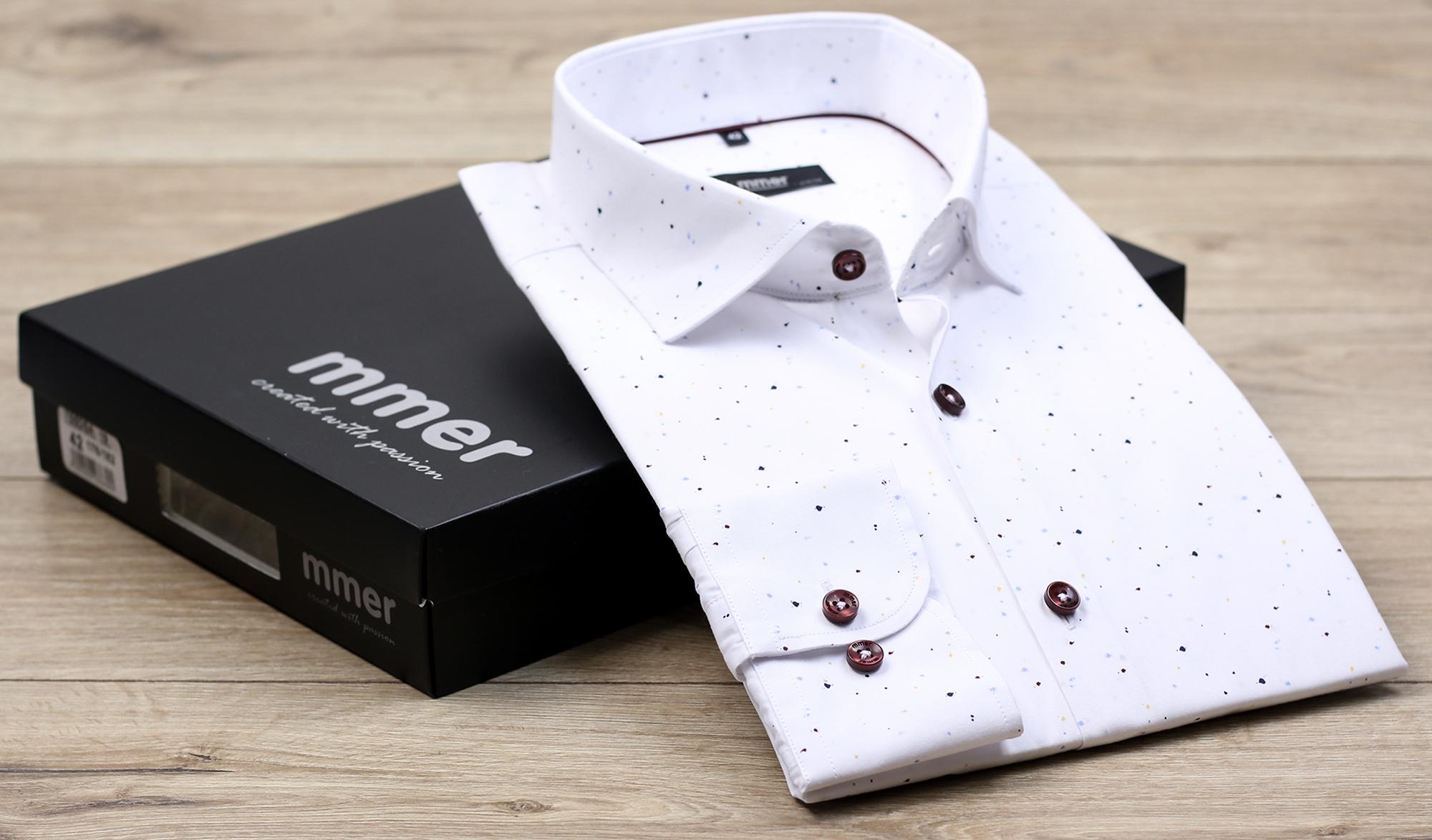 Biała koszula w delikatne plamki 864