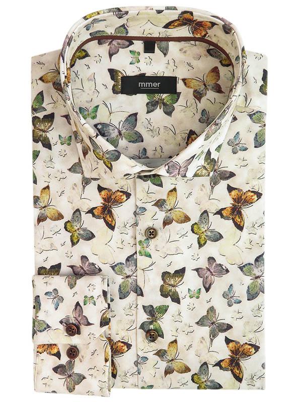 Beżowa koszula w motyle 940