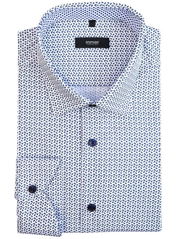 Biała koszula w niebieskie kropelki 999