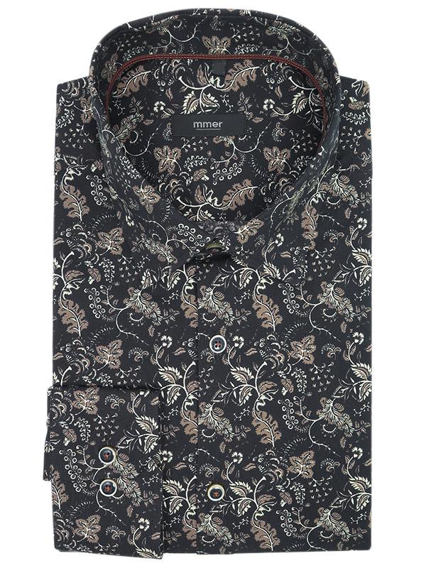 Czarna koszula we florystyczny wzór/ liście Mmer A027