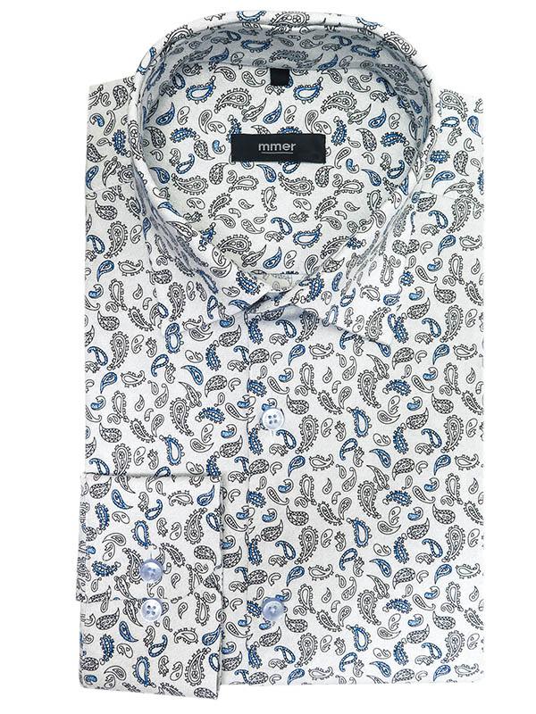 Biała koszula w paisley Mmer A041