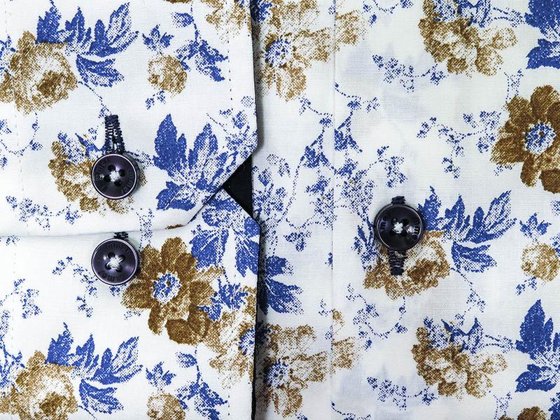 Biała koszula w kwiaty A048