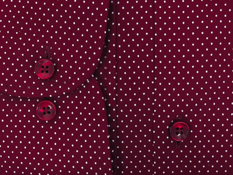 Bordowa koszula w białe kropki A071