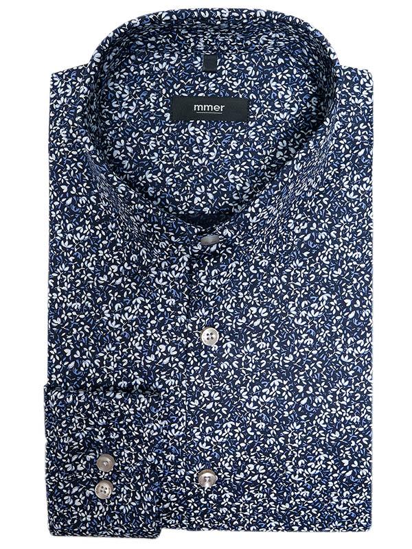 Granatowa koszula w drobne kwiatki Mmer A049
