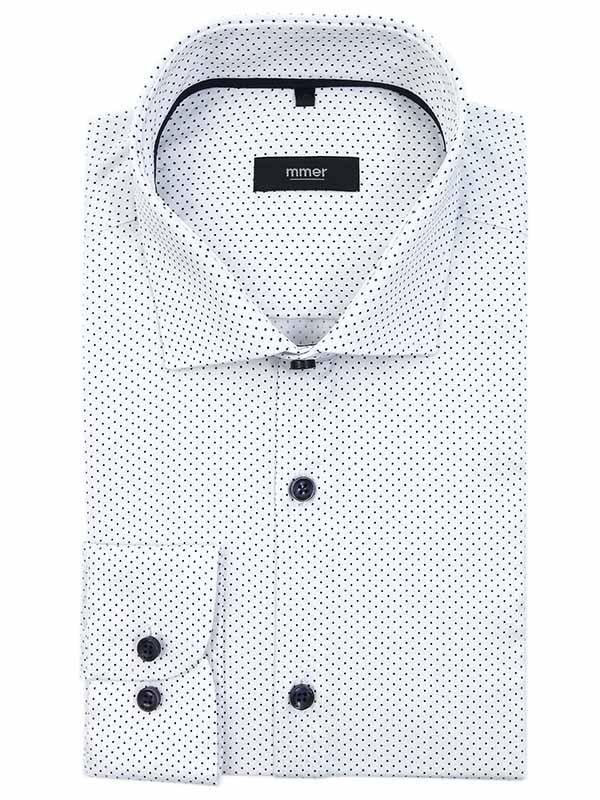 Biała koszula w ciemnogranatowe kropki C104