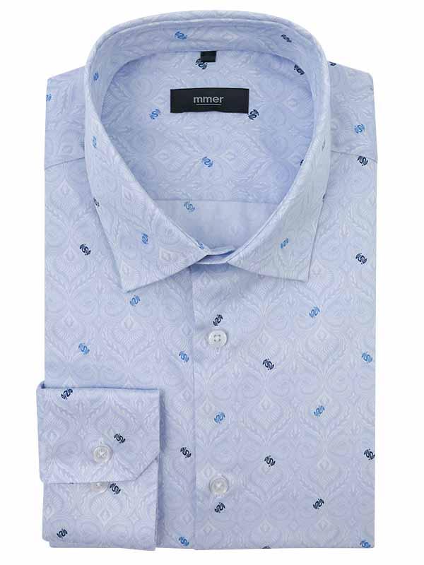 Błękitna koszula w unikatowy wzór C142