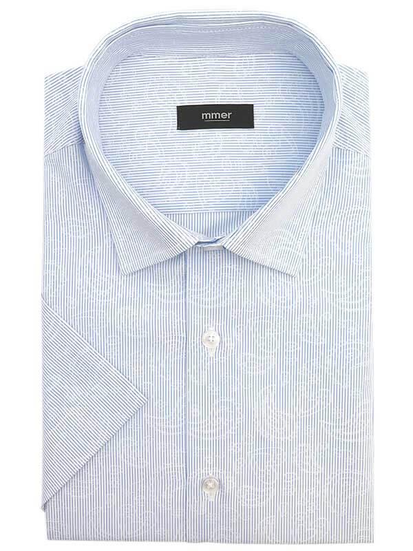 Biała koszula w niebieski prążek z delikatnym wzorem paisley i z krótkim rękawem CX001