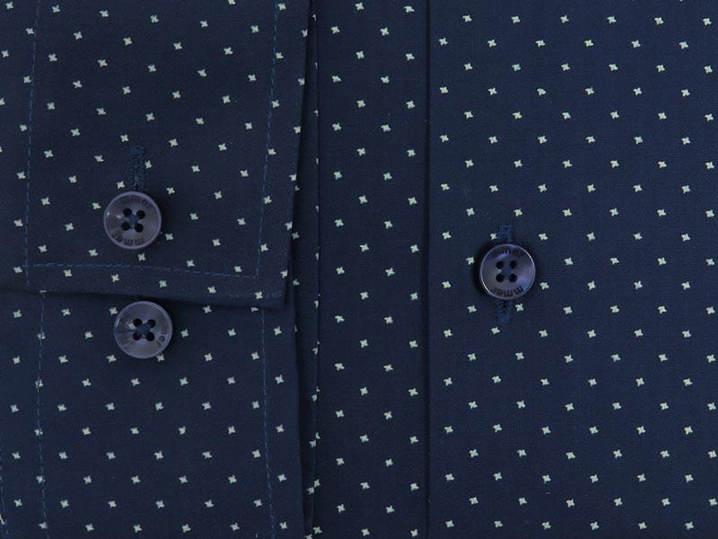 Granatowa koszula męska w drobny biały wzór A017