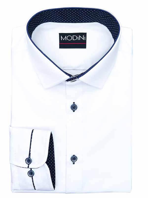 Biała koszula męska z granatowymi kontrastami w kropki Y01